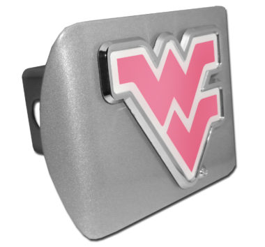 West Virginia University Pink Emblem on Brushed Hitch Cover