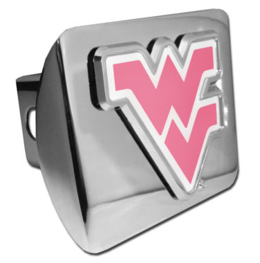 West Virginia University Pink Emblem on Chrome Hitch Cover