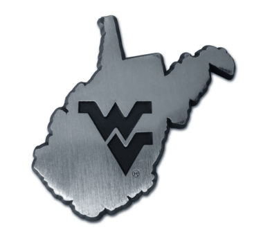 West Virginia University State Shape Matte Chrome Emblem