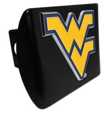 West Virginia University Yellow Emblem on Black Chrome Hitch Cover