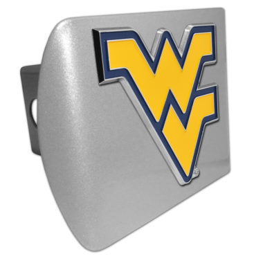 West Virginia University Yellow Emblem on Brushed Chrome Hitch Cover