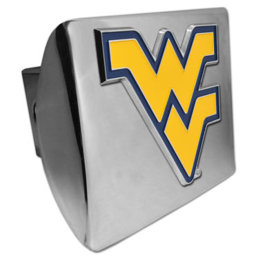 West Virginia University Yellow Emblem on Chrome Hitch Cover