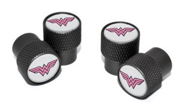 Wonder Woman Valve Stem Caps - Black Knurling