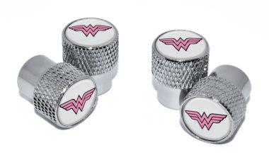 Wonder Woman Valve Stem Caps - Chrome Knurling