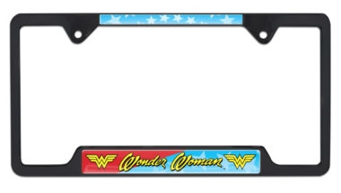 Wonder Woman Open Black License Plate Frame