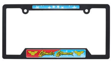 Wonder Woman Black Plastic Open License Plate Frame