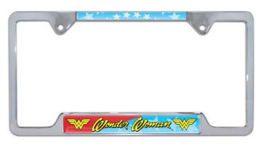 Wonder Woman Open Chrome License Plate Frame
