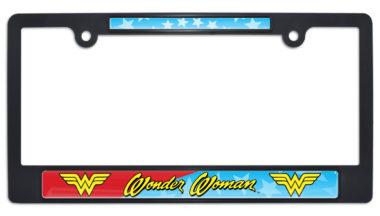 Wonder Woman Black Plastic License Plate Frame