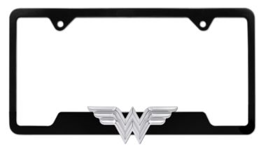 Wonder Woman 3D Black Open License Plate Frame