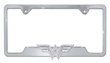 Wonder Woman 3D Chrome Open License Plate Frame image