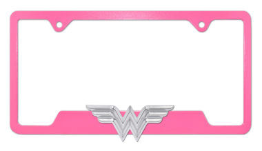Wonder Woman 3D Pink Open License Plate Frame image