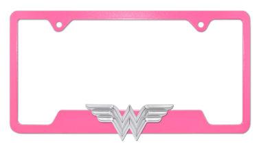 Wonder Woman 3D Pink Open License Plate Frame image