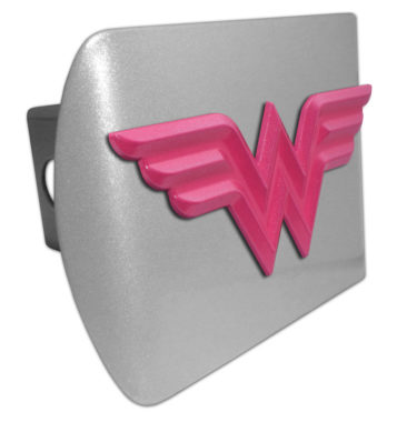 Wonder Woman Pink on Brushed Hitch Cover