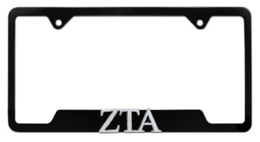 ZTA Sorority Black Open License Plate Frame