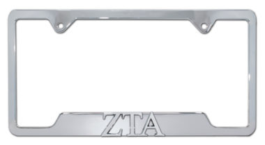 ZTA Sorority Chrome Open License Plate Frame