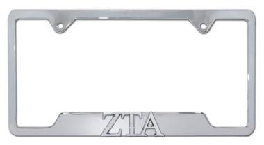 ZTA Sorority Chrome Open License Plate Frame image