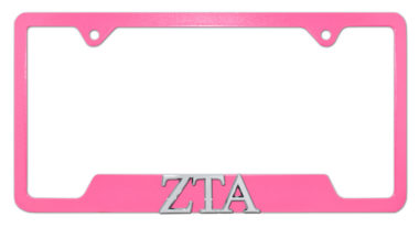 ZTA Sorority Pink Open License Plate Frame