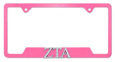 ZTA Sorority Pink Open License Plate Frame